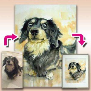 犬の肖像画 水彩画 オーダーメイド