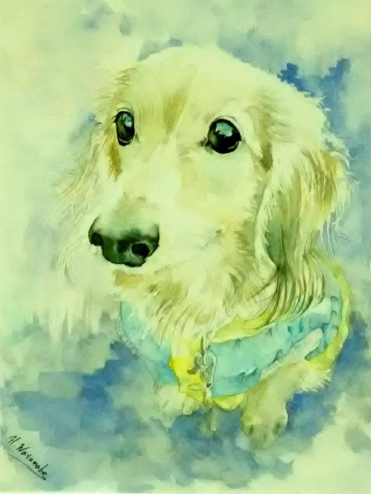 亡き愛犬の水彩画制作依頼