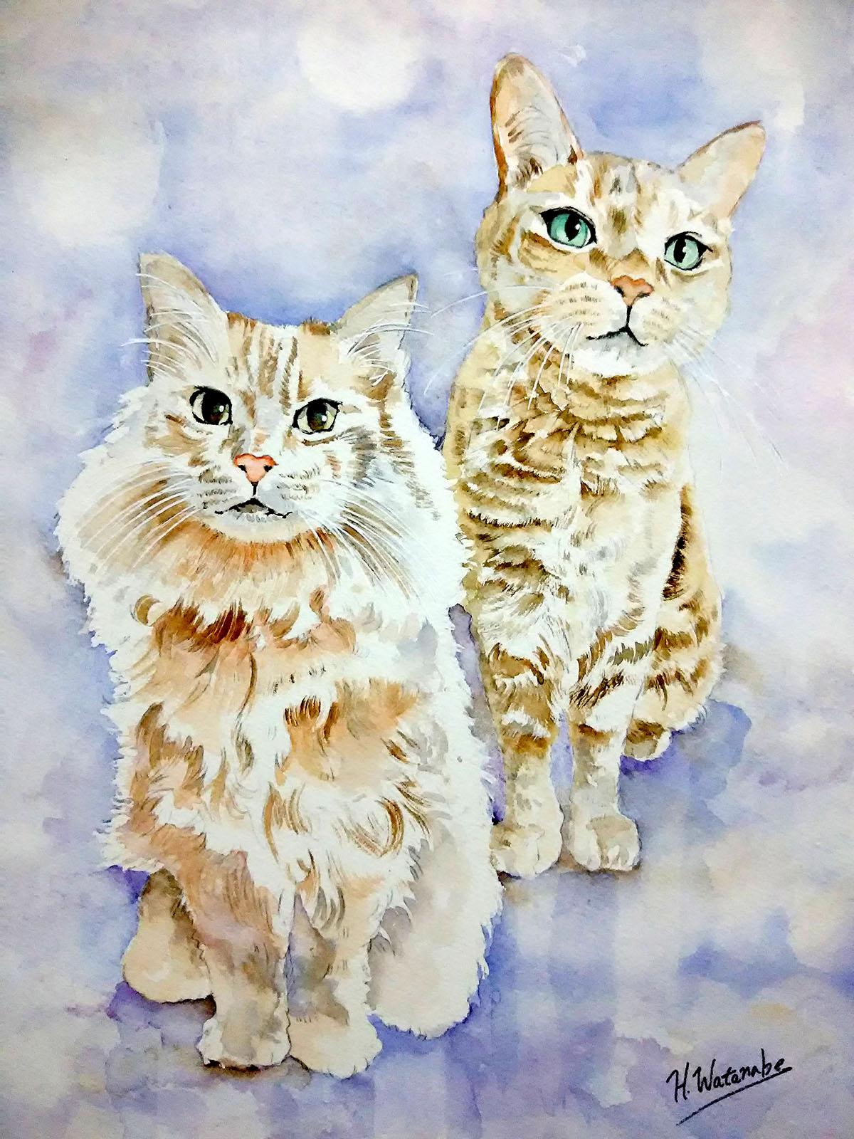 猫ちゃんの水彩画のご依頼を受け描かせていただきました