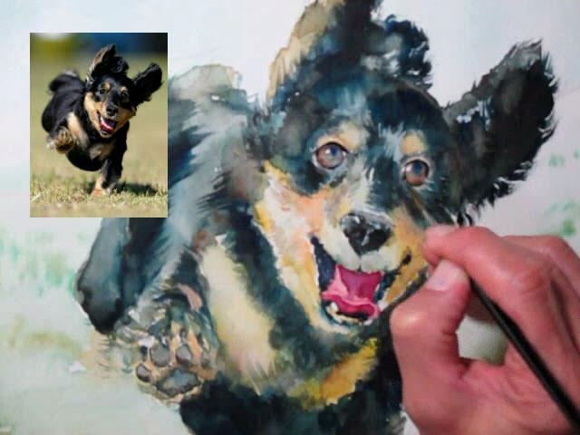 愛犬の水彩画オーダーメイド メーキング
