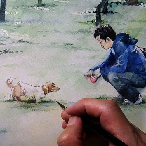 ダックスフンドと飼い主の水彩画