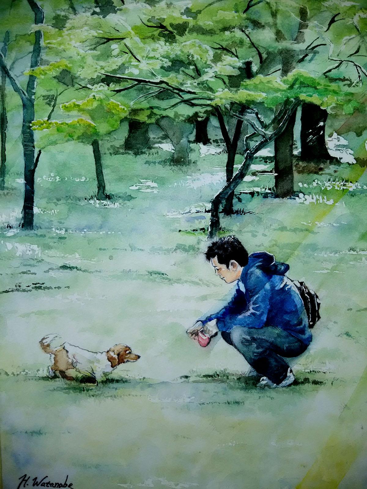 愛犬イヴちゃん(ダックスフンド)と飼い主様の水彩画