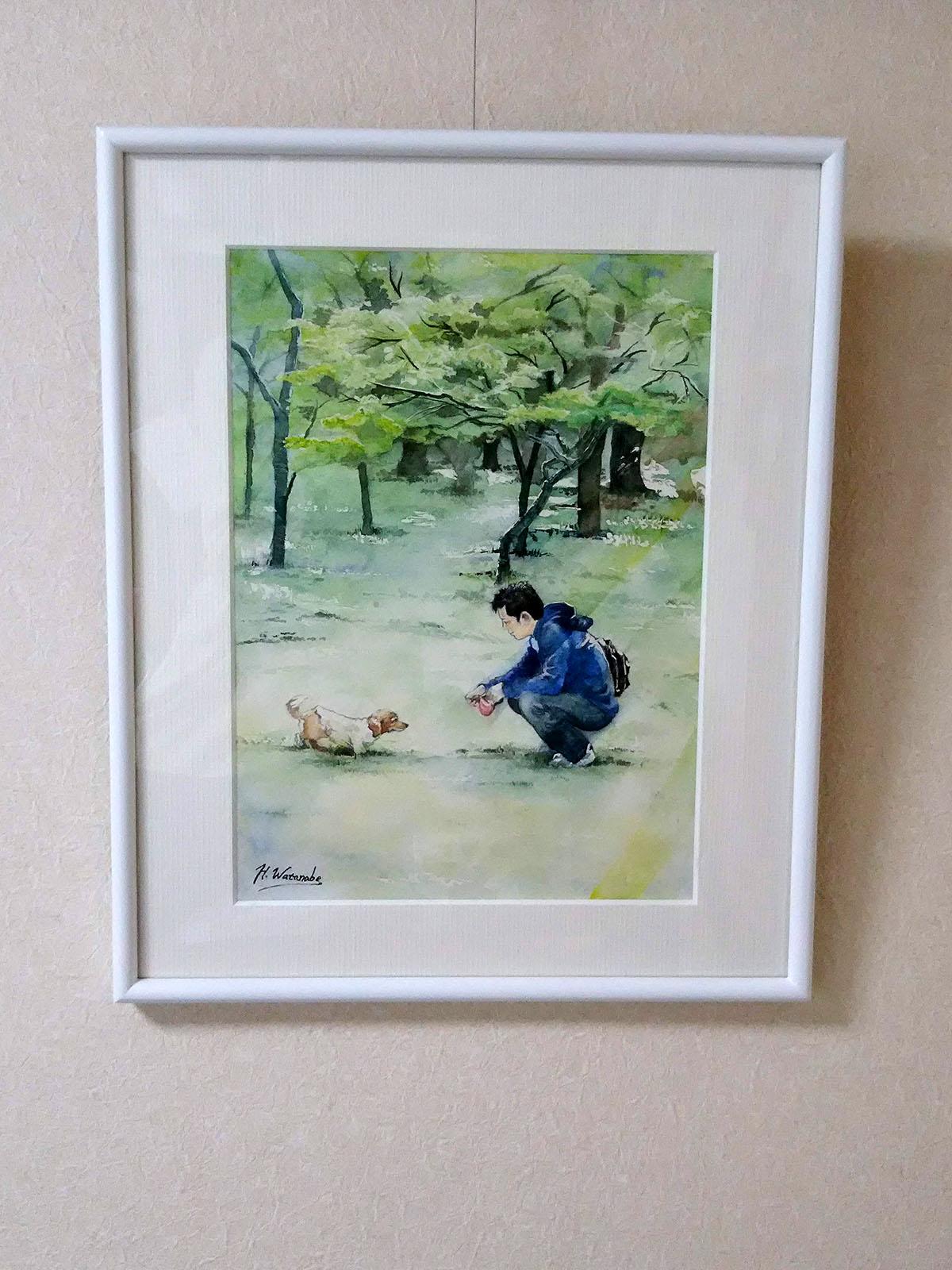 愛犬と飼い主 水彩画オーダーメイド